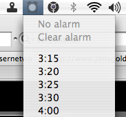 TinyAlarm interface - there's also an easy way to set any time you wish